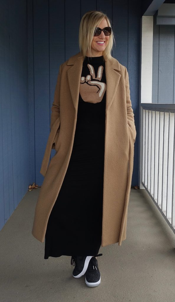 Coat and sweater over maxi T-shirt dress with sneakers