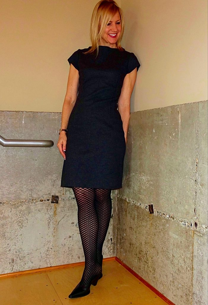 Sheath dress with fishnets for work