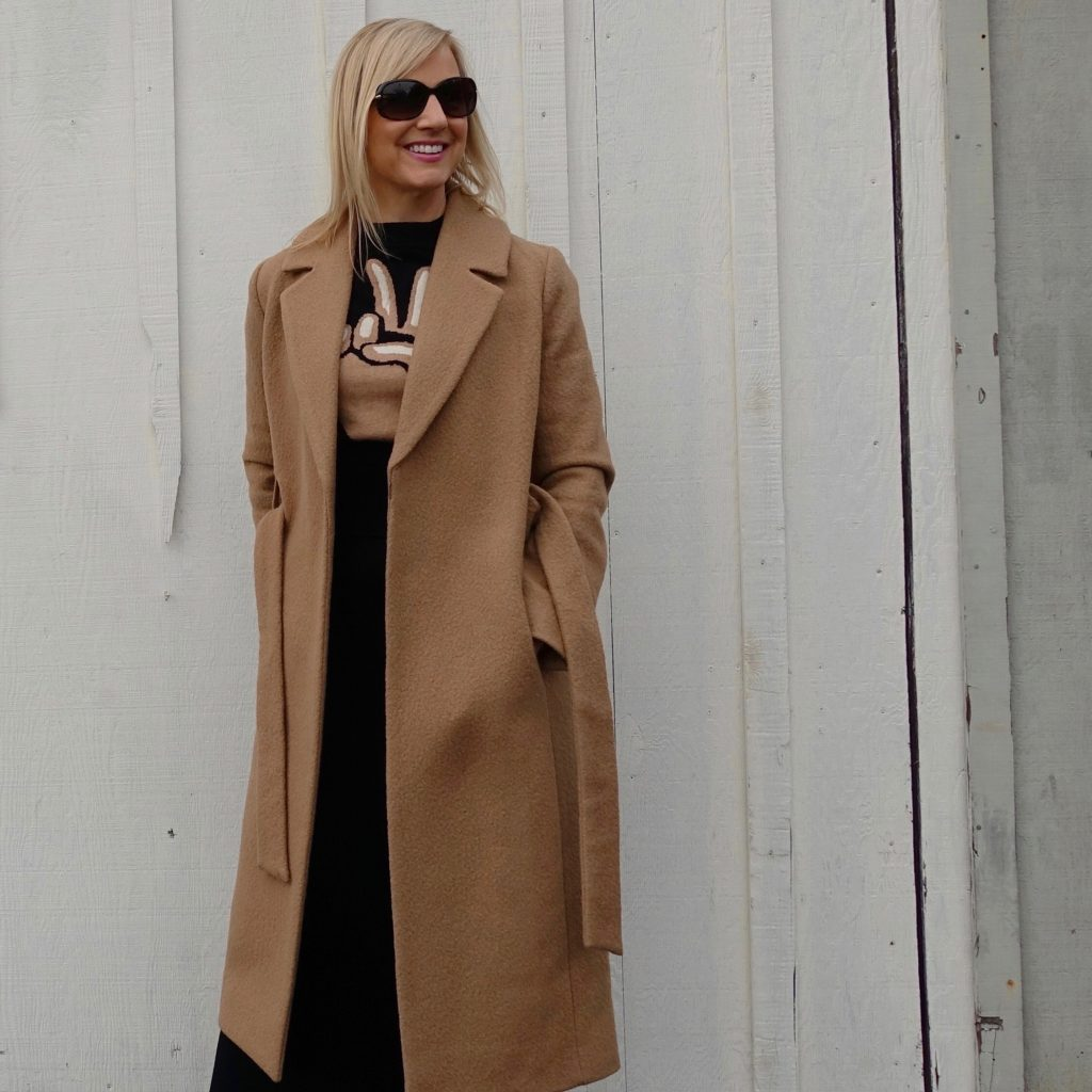 Wool coat over a maxi T-shirt dress