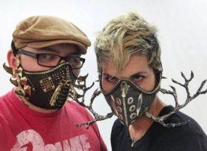 Lance and Emily wearing LMV masks