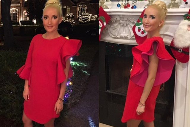 red Layana Aguilar dress for NYE