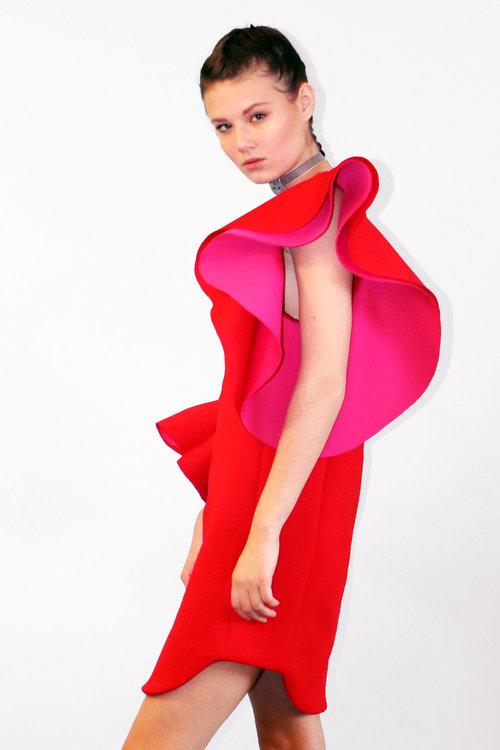 LAYANA AGUILAR Asymmetrical Flare Dress