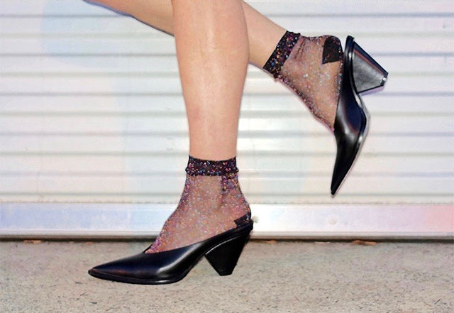 Sparkly ankle socks with mules