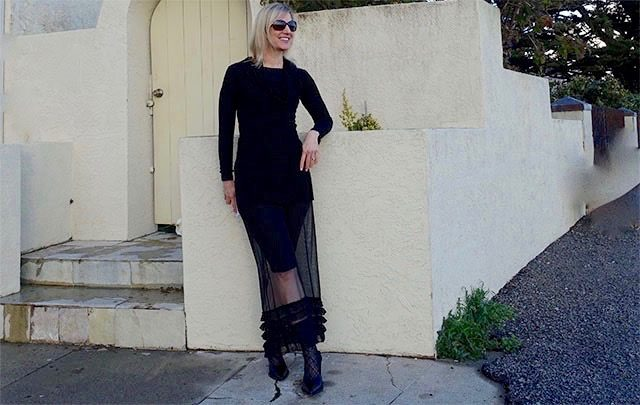 All-black outfit with sheer skirt