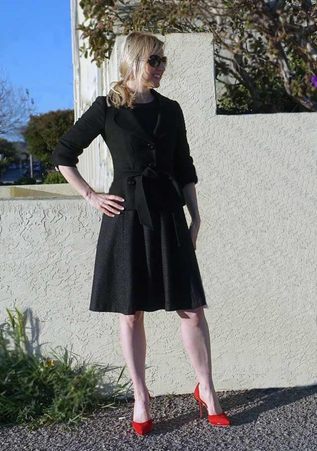 Black dress with red pumps