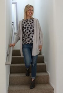 Cardigan over starry sweater