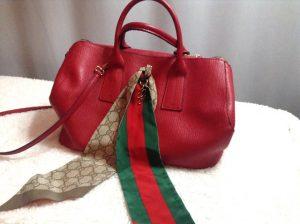 Updating a Furla handbag with a Gucci scarf