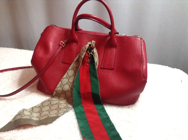 Updating a Furla handbag with a Gucci scarf
