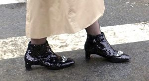 Close up of glittery boots
