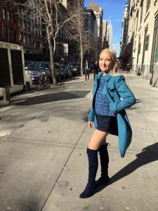 Liliya in her blue spring outfit