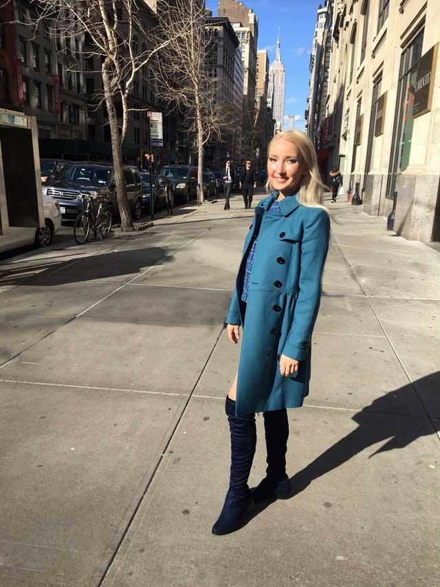 Liliya in her blue OOTD for spring
