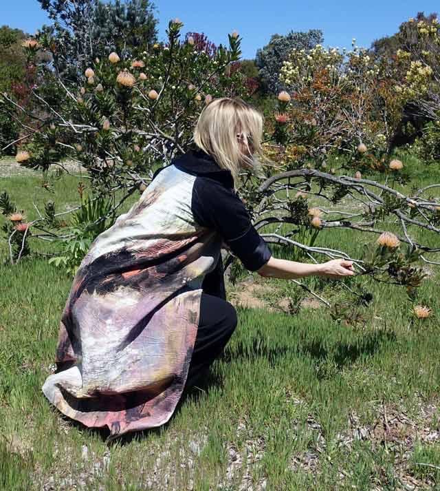Emily Payne dress coat in the arboretum