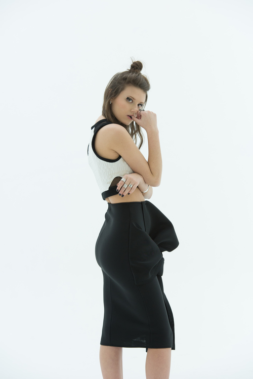 LAYANA AGUILAR Origami Fold Skirt, side view in black