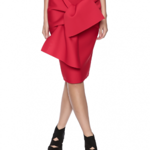LAYANA AGUILAR Origami Fold Skirt, close up in red