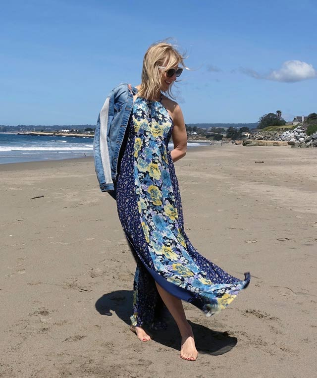 Going boho - floral maxi dress and denim jacket