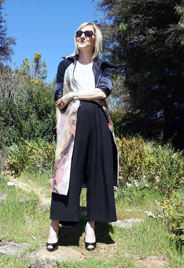 Spring dress coat with Eileen Fisher pants