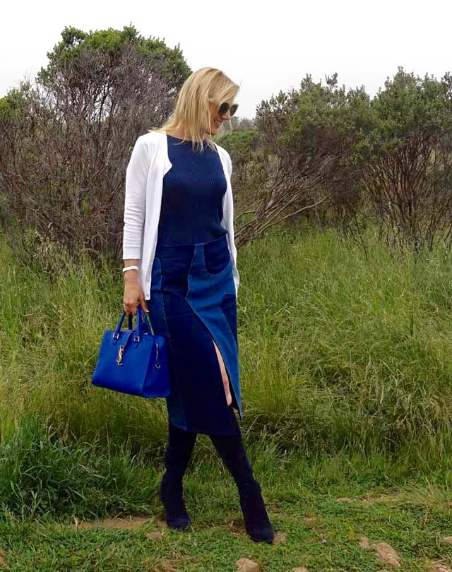 OOTD with denim midi skirt