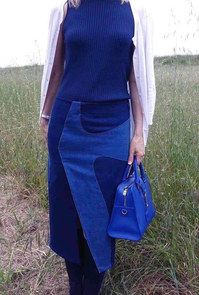 Close up of patchwork denim midi skirt