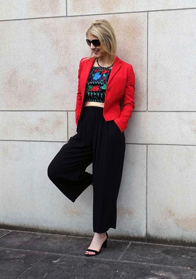 Wearing a blazer over the crop top