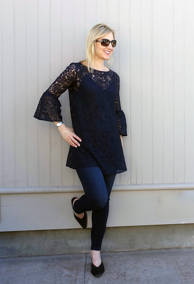 Lace tunic and skinnies