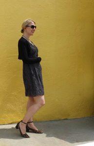 Sweater over polka dot dress