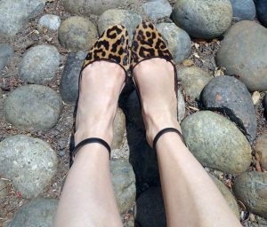 Close up of leopard print shoes