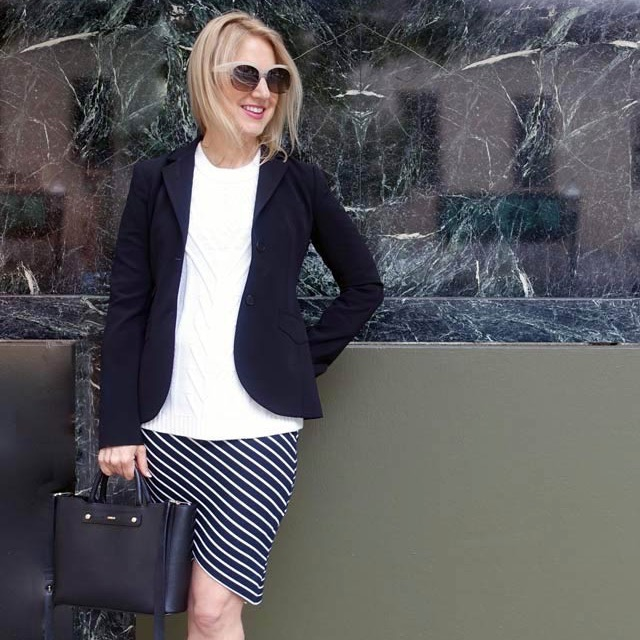 A blazer over cold shoulders