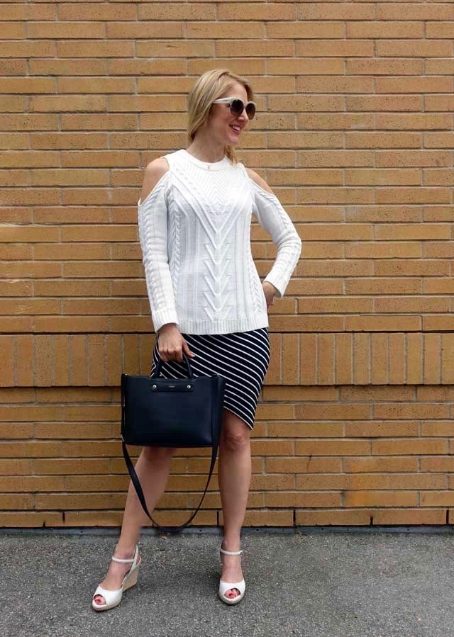 Layering with a cold-shoulder sweater