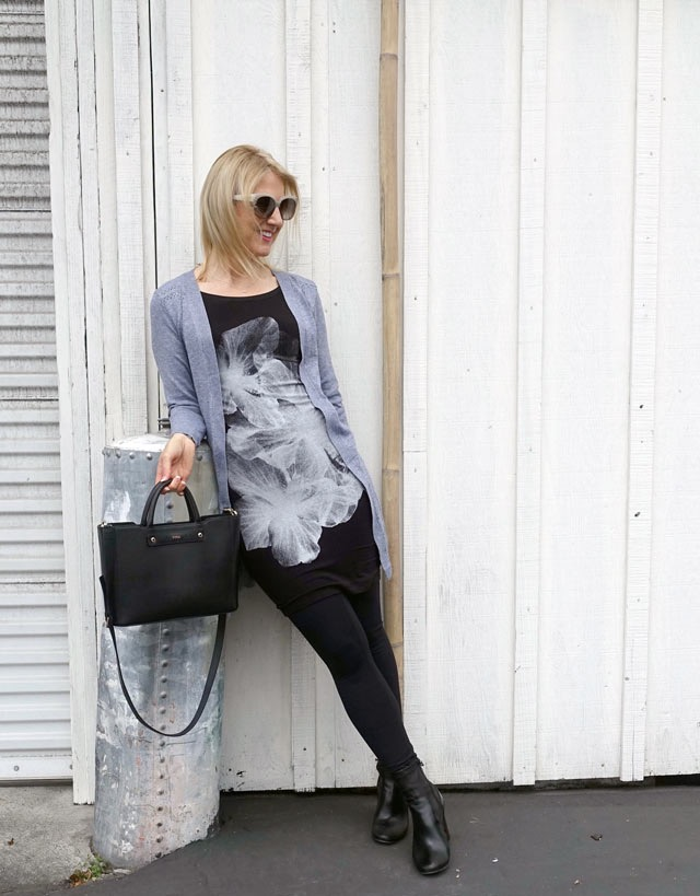 T-shirt dress and cardigan
