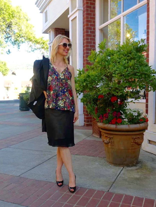 Floral tank and sheeny skirt
