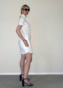 Side view of white linen shirt dress