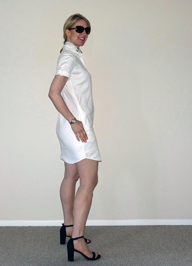 Side view of white linen shirt dress
