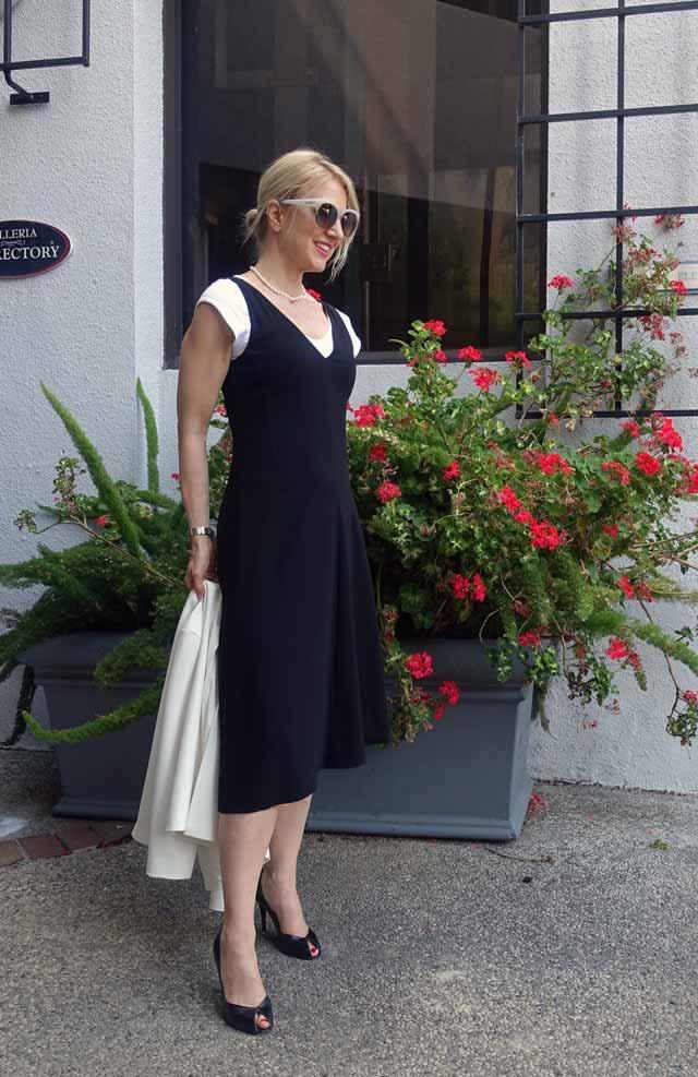 Black work dress with asymmetrical hem