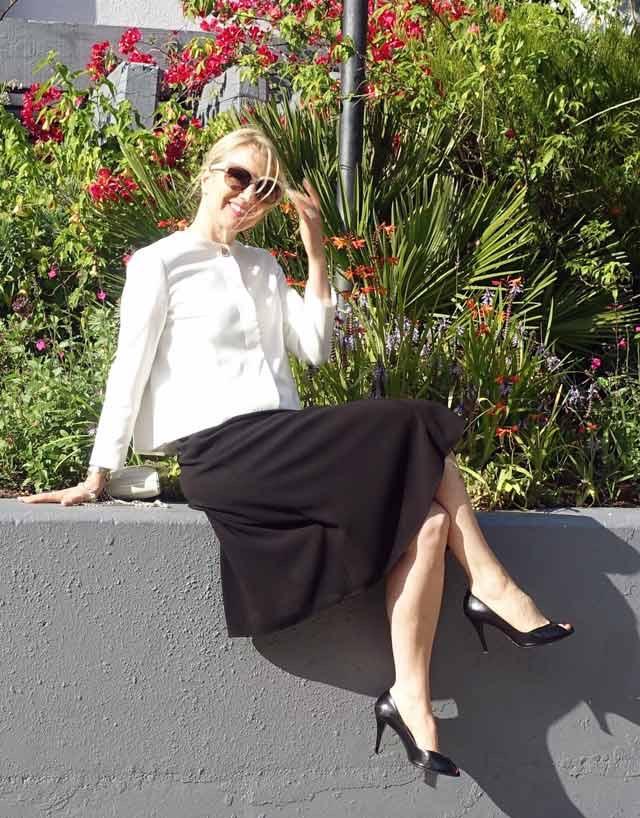 Black work dress with white blazer