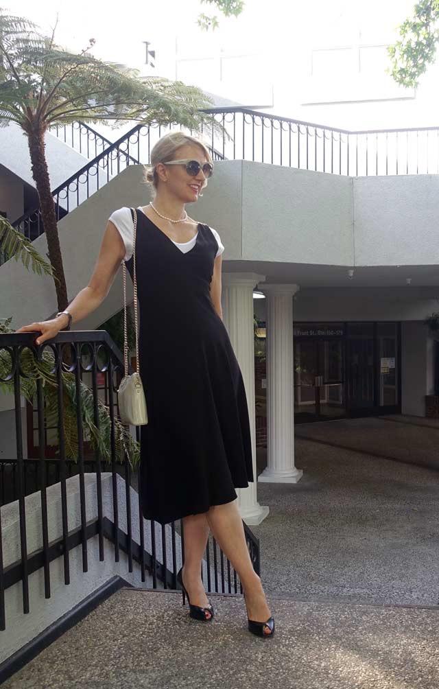 Asymmetrical black dress for work