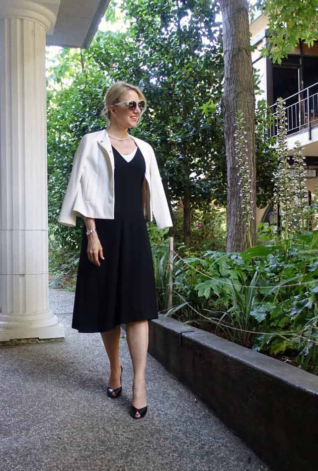 Work outfit with asymmetrical dress