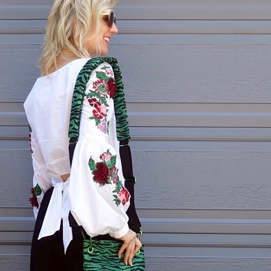 Embroidered top with zebra print bag