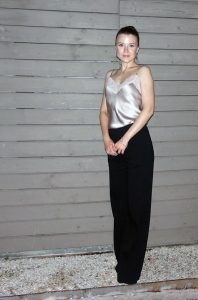 Dining out outfit: wide-legged pants and a camisole