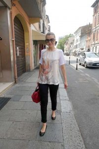 Julia on a hot day in Piacenza