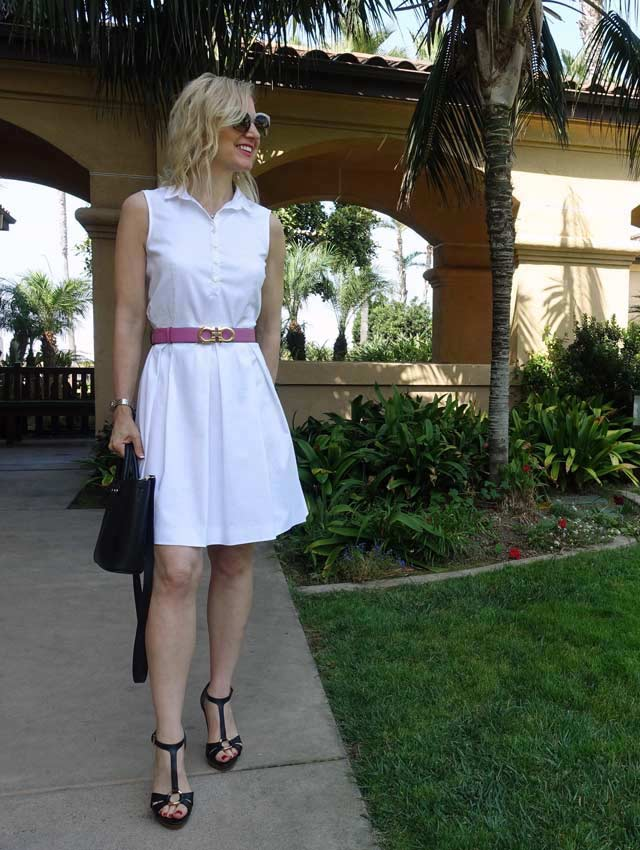 White dress with pink belt