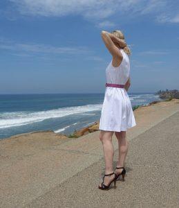 White dress on the San Diego coast