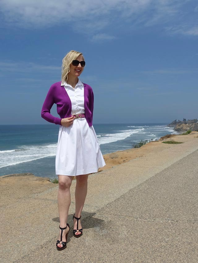 Short fuchsia sweater with my white dress