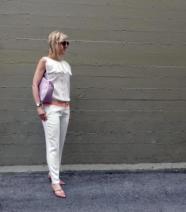 White outfit with pink accessories