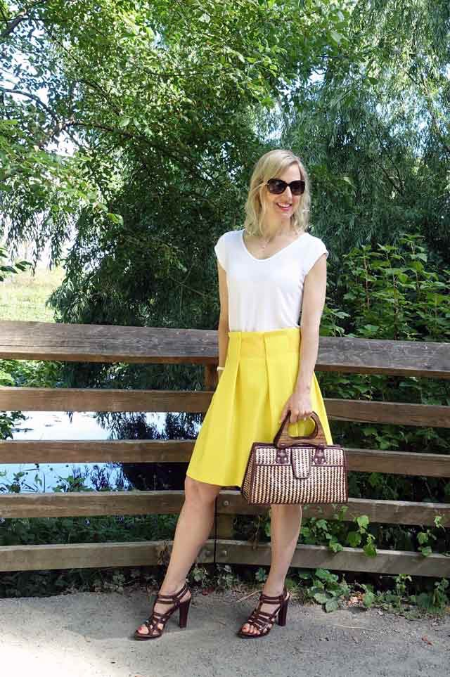 Bright yellow skirt on a blonde
