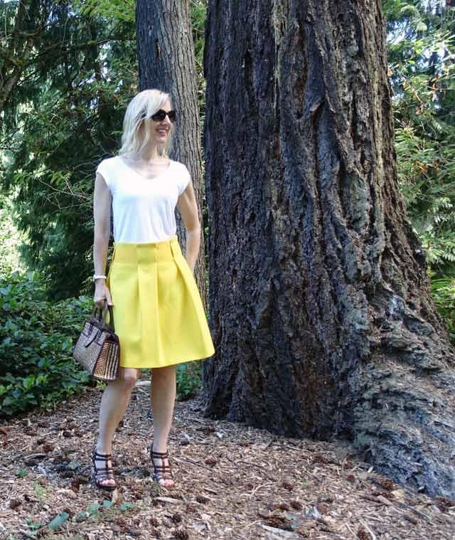 Primrose yellow skirt ensemble