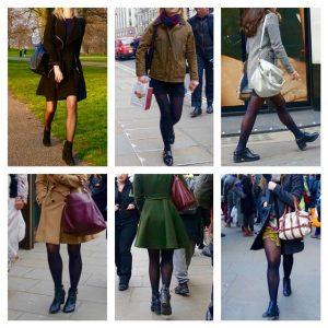 London: black tights, short skirt