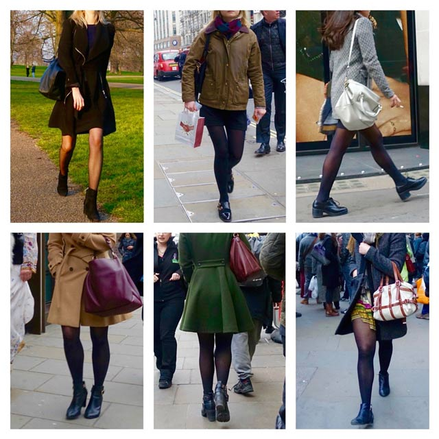 London: black tights, short skirt